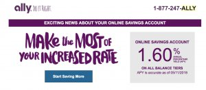Ally Bank offers at 1.60 APY Savings Account Rate